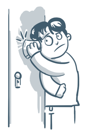 illustration of a man holding a cup to a door